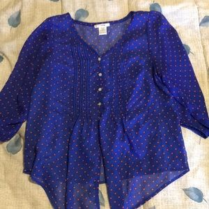 Blouse Blue with red dots